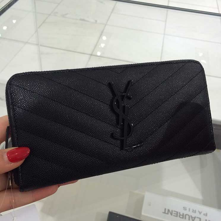 bf99b76a3cb3 A Closer Look  Yves Saint Laurent Monogram Wallet Low Price Replica ...