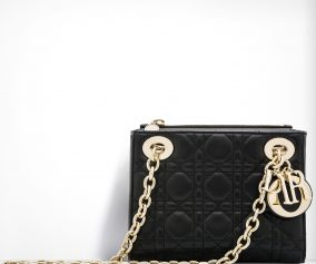 mini lady dior bag in black lambskin with double chain